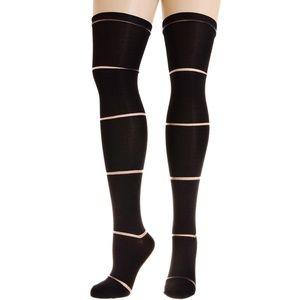 NEW Sheer Stripe Over the Knee Socks in Licorice